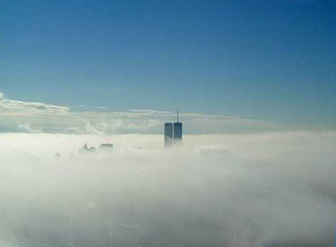 World Trade Centre in the clouds.